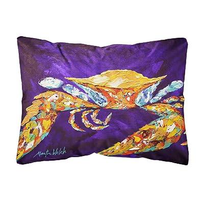Caroline's Treasures MW1172PW1216 The Right Stuff Crab in Purple Canvas Fabric Decorative Pillow, 12H x16W, Multicolor : Garden & Outdoor