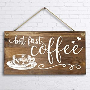 """6""""x 12"""" Rustic Solid Wood Wall Decor Decoration Sign for Kitchen Art or Office Art -But First Coffee."""