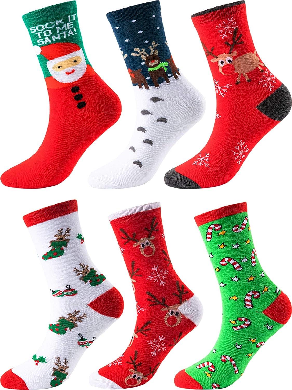 Sumind 6 Paia Calze di Natale Calzini Casual da Vacanza Natalizia Cotone Calzino Divertimento per Regali di Novità