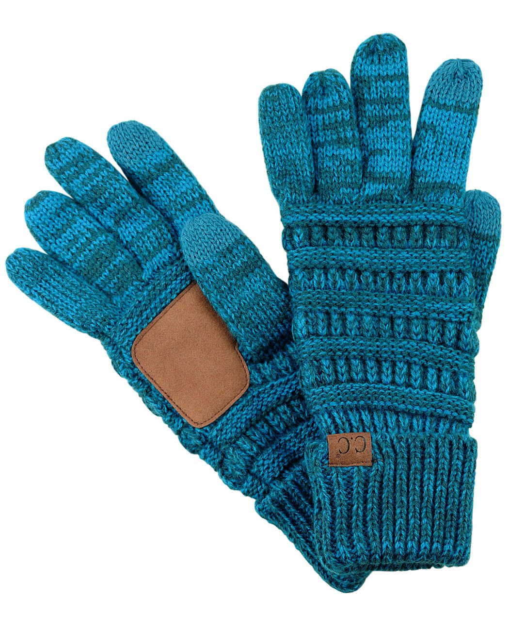 C.C Unisex Cable Knit Winter Warm Anti-Slip Touchscreen Texting Gloves, Blue/Teal