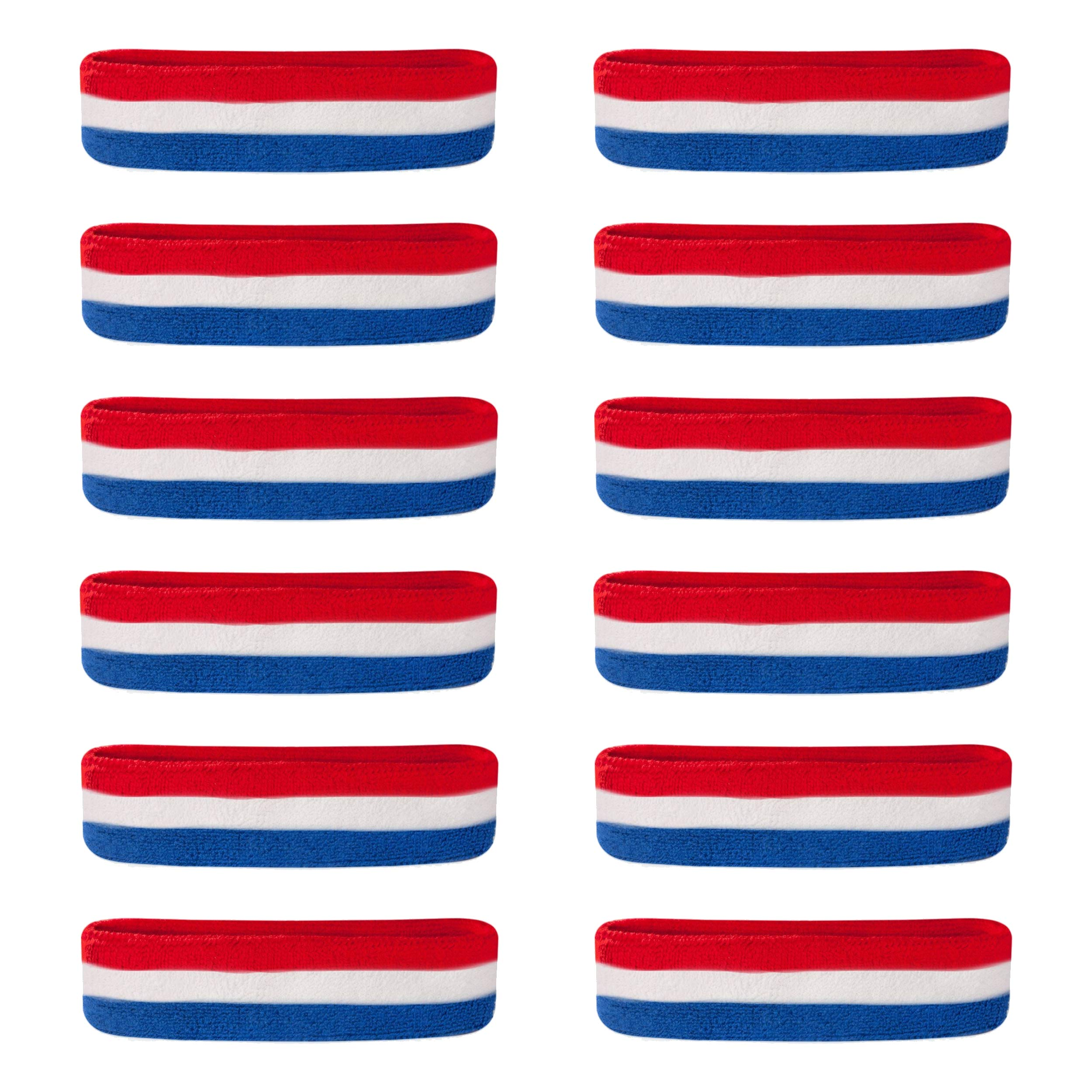 Suddora Sweatbands/Headbands - Terry Cloth Athletic Basketball Head Sweat Bands (Bulk 12-Pack) (Red White Blue) by Suddora