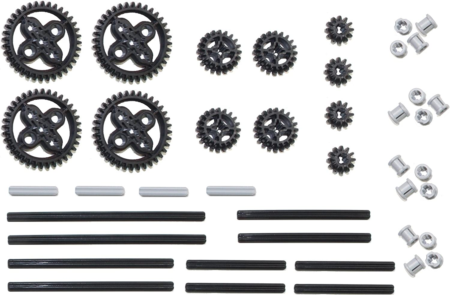 4x Black Lego Technic 36 Tooth Double Bevel Gear