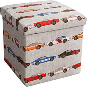 Lush Decor Race Cars Fabric Covered Collapsible Ottoman, 15