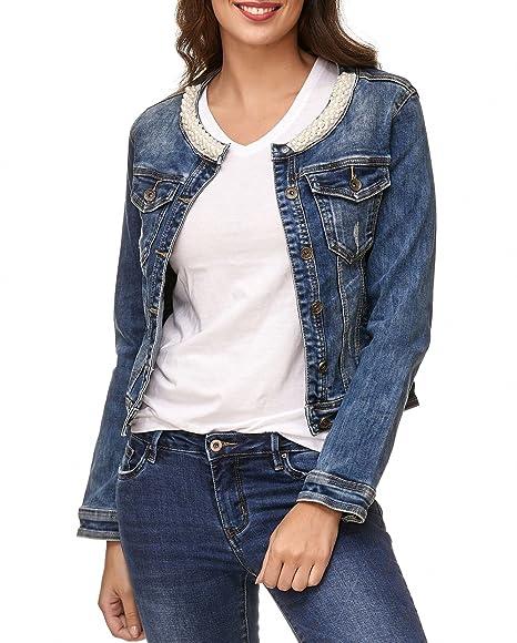 Jeans Beads Collar Femmes Jacket Transition Sleeve Long Veste gqCdvtw