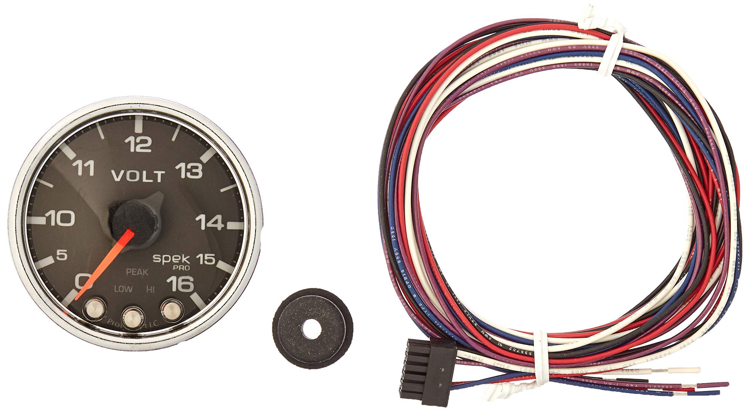 Auto Meter P34431 Gauge, Voltmeter, 2 1/16'', 16V, Stepper Motor W/Peak & Warn, Blk/Chrm, Spek-Pro