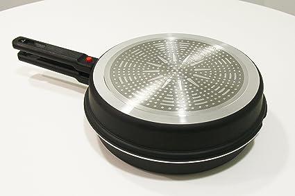 OVI - Sarten Doble Gira tortillas 24 cm reversible, acabado antiadherente, apta para inducción, apta para cocción en horno