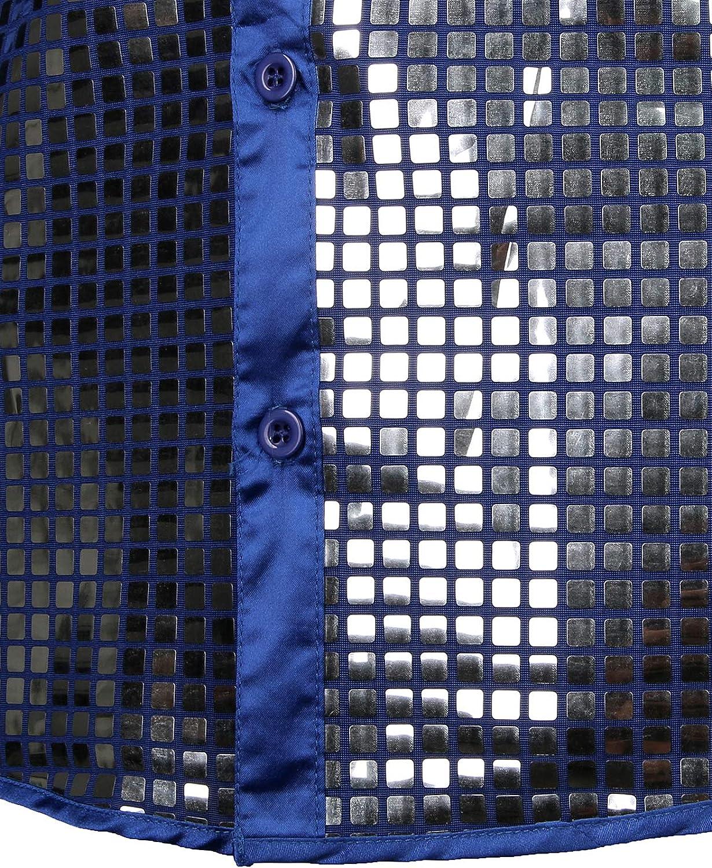 JOGAL Stile Anni 70 con Bottoni Camicia da Uomo con Paillettes argentate a Maniche Corte