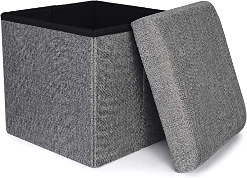 RONSTA Storage Ottoman, Foldable Cube Ottoman with Storage for Children, Foot Rest, Cloth Foot Stools and Ottomans with Memory Foam and Faux Linen Seat 12 X12 X12 Linen-Gray