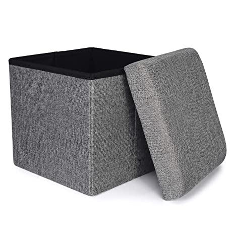 Remarkable Ronsta Storage Ottoman Foldable Cube Ottoman With Storage For Children Foot Rest Cloth Foot Stools And Ottomans With Memory Foam And Faux Linen Andrewgaddart Wooden Chair Designs For Living Room Andrewgaddartcom