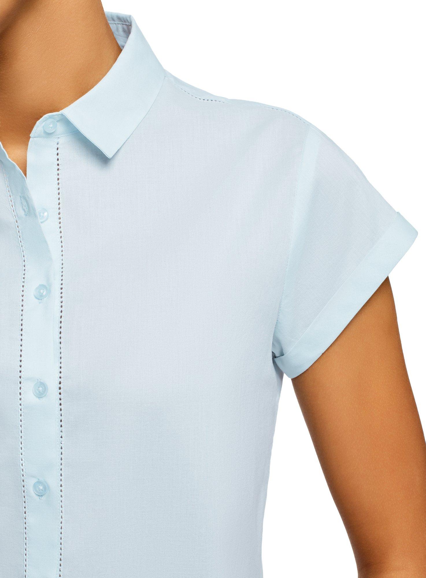 oodji Ultra Women's Short Sleeve Cotton Shirt with Turn-Ups, Blue, 2 by oodji (Image #5)