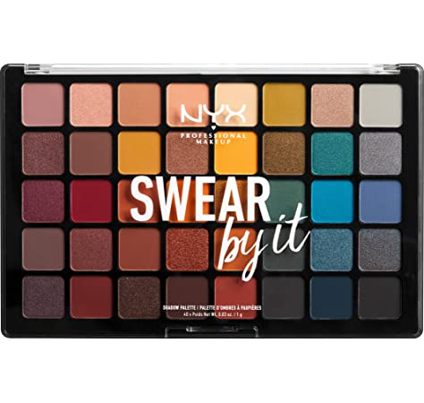 NYX Professional Makeup Paleta de sombra de ojos Swear By It Eye Shadow Palette, Tonos fríos y cálidos, Acabado mate, satinado y metalizado, 40 Colores: Amazon.es: Belleza