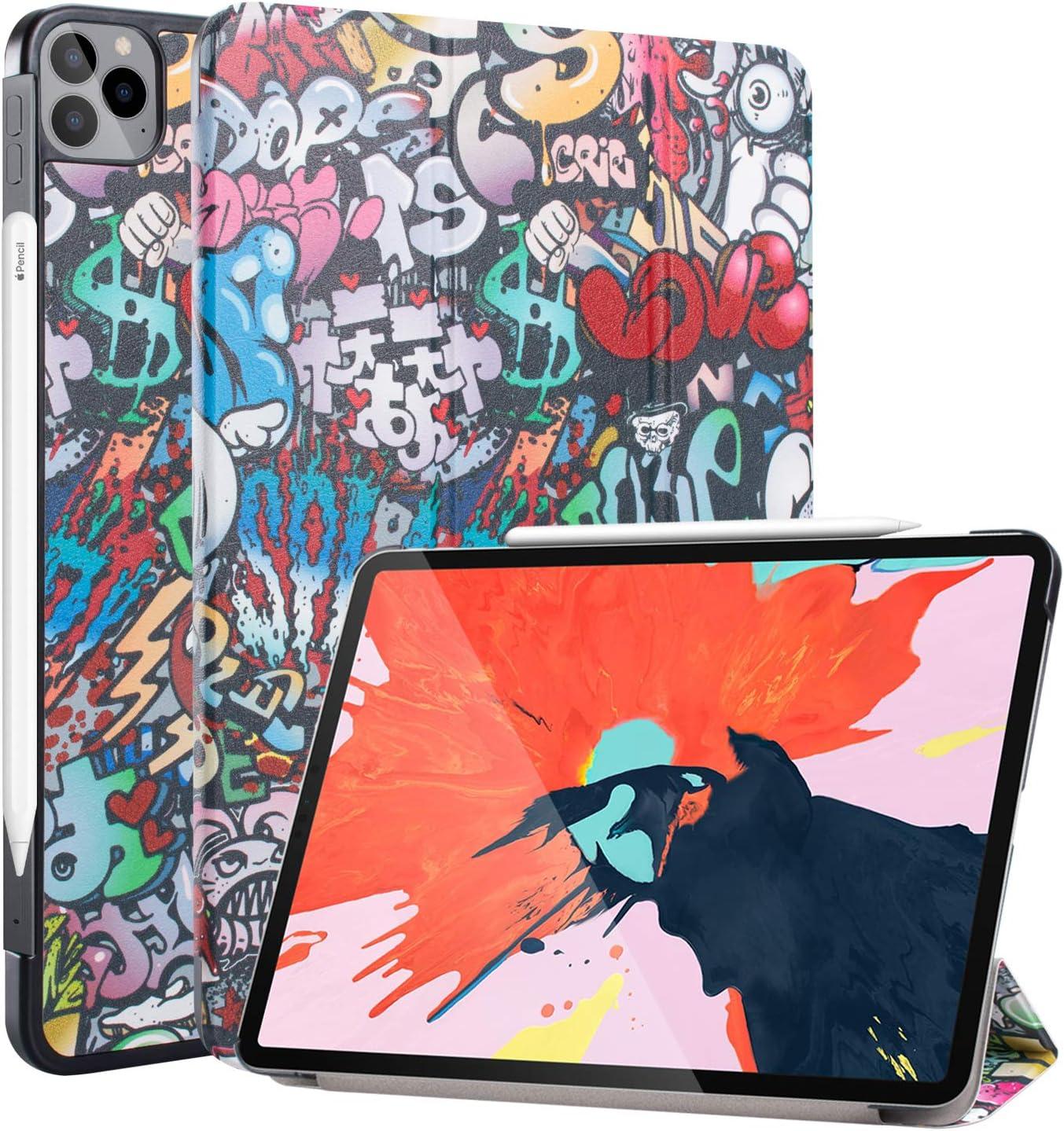 Neepanda Case for New iPad Pro 11 2020 2nd Generation, [Support Apple Pencil Charging] Slim Lightweight Smart Tri-Fold Stand Case for iPad Pro 11 inch 2nd Gen 2020, Auto Wake/Sleep, Graffiti