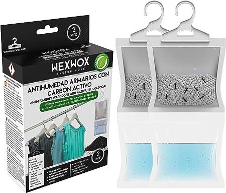 Wexwox Nueva Formula Exclusiva con Carbón Activo (440g) Percha Antihumedad y Purificador de Aire para Armario, trastero, Absorbe la Humedad evitando Moho, hasta 60 Días: Amazon.es: Hogar