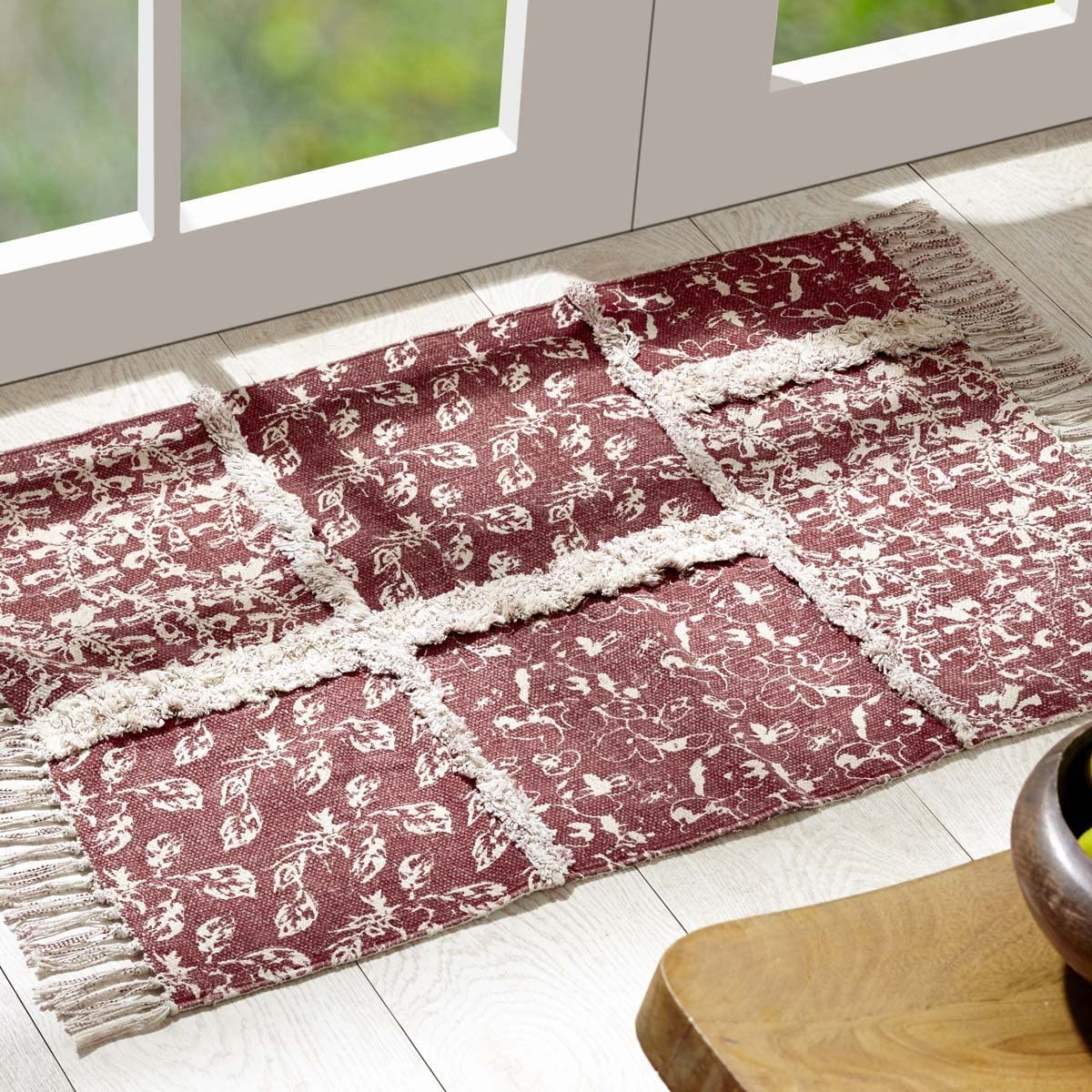 """VHC Brands Farmhouse Flooring - Isabella Red Stenciled Patchwork Rug, 1'8"""" x 2'6"""""""