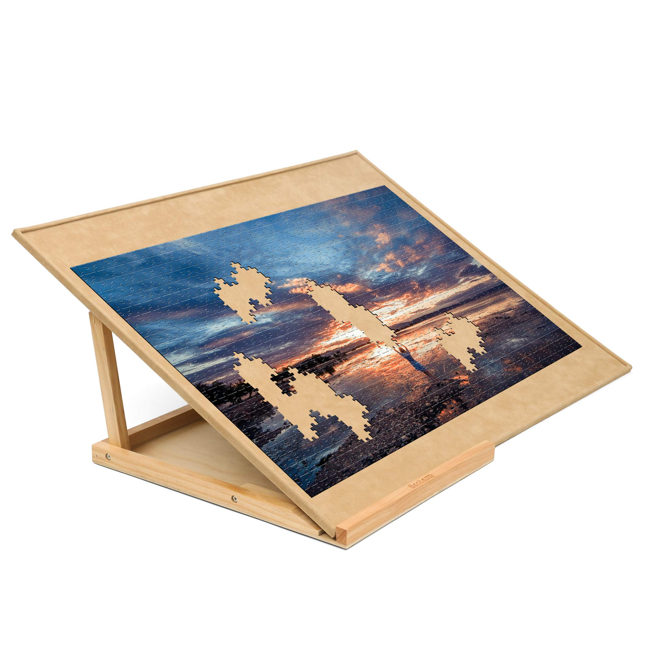 Becko Wooden Puzzle Board with Easel Adjustable Puzzle Board & Bracket Set Jigsaw Puzzle Plateau for Adults and Kids for Puzzle Up to 1000 Pieces, Non-Slip Surface