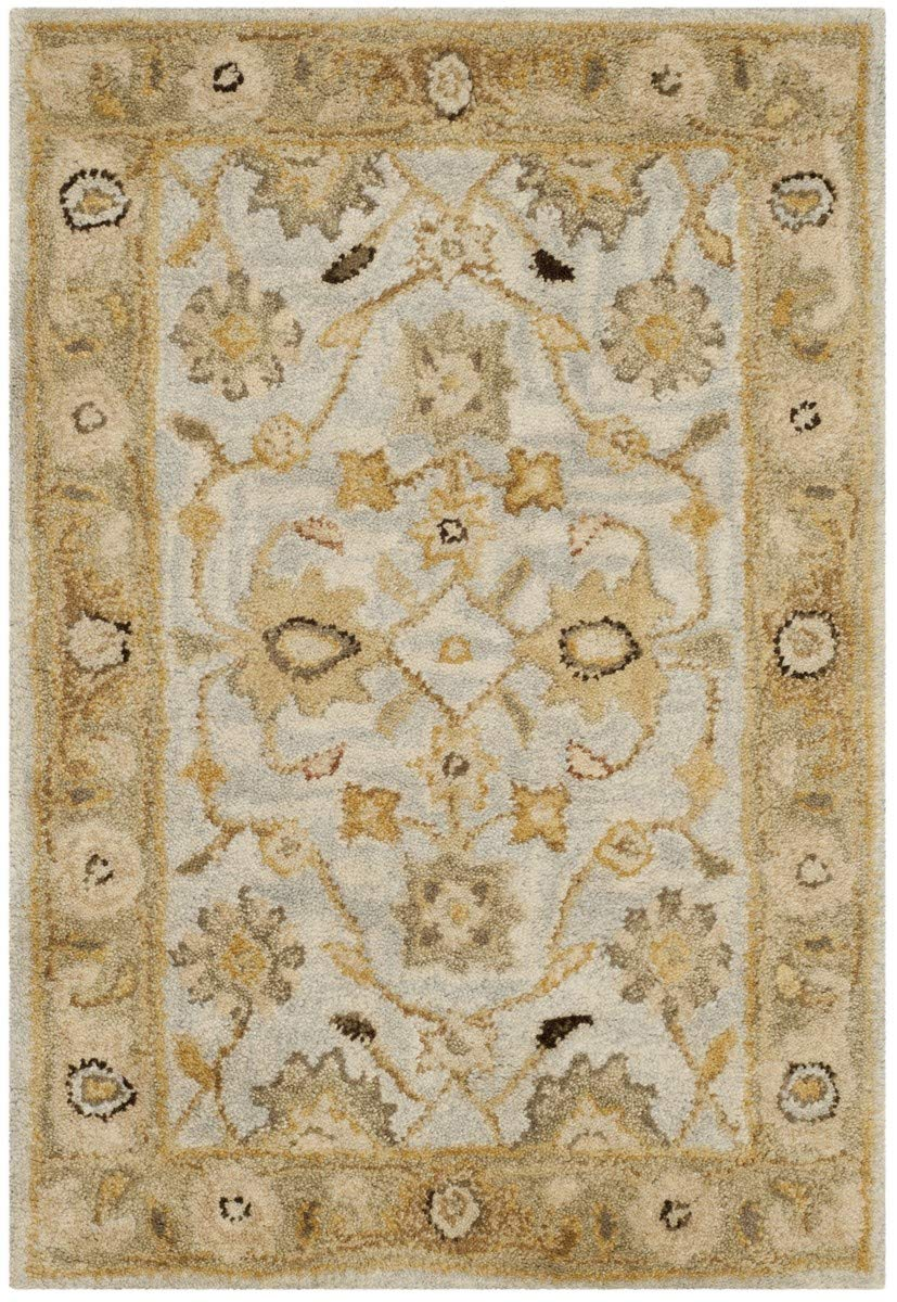Safavieh Antiquities Collection AT856B Handmade Traditional Oriental Light Blue and Sage Wool Area Rug 2 x 3