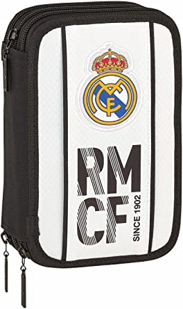 Safta Real Madrid 2018/2019 Plumier Triple 41 Piezas Real Madrid 20.5x13.5cm, Blanco: Amazon.es: Ropa y accesorios