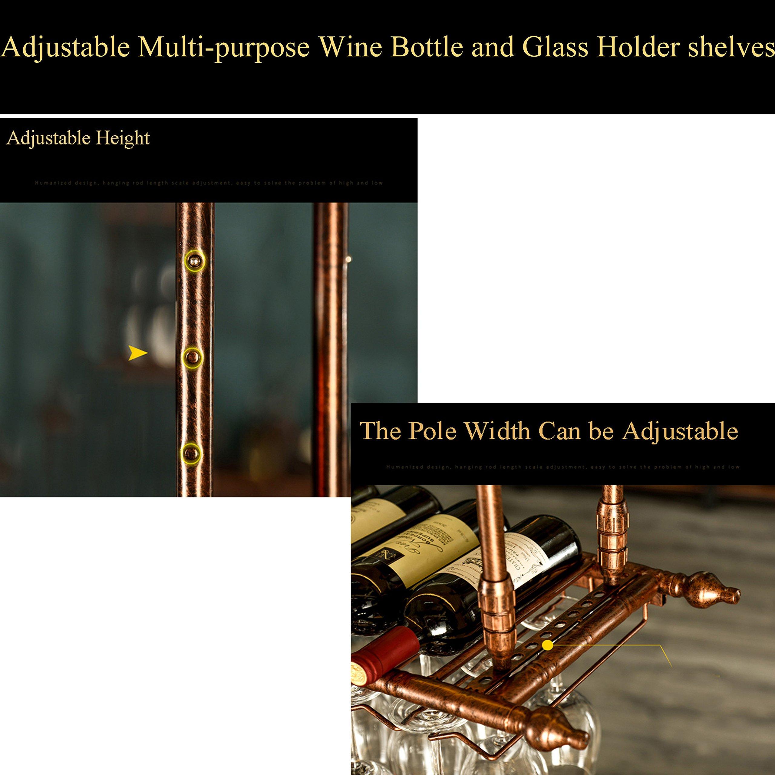 WGX Wine Bar Wall Rack 60'',Hanging Bar Glass Rack&Hanging Bottle Holder Adjustable (Black) by WGX Design For You