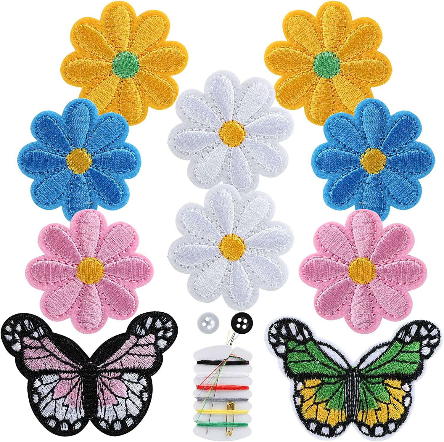 Mixed Color NBEADS 20 Pcs Lace Flower//Butterfly Embroidered Appliques Patches Sewing Fiber Appliques DIY Garment Accessory Appliques Patches for Decoration or Repair of Cloth Dress Garment Jeans