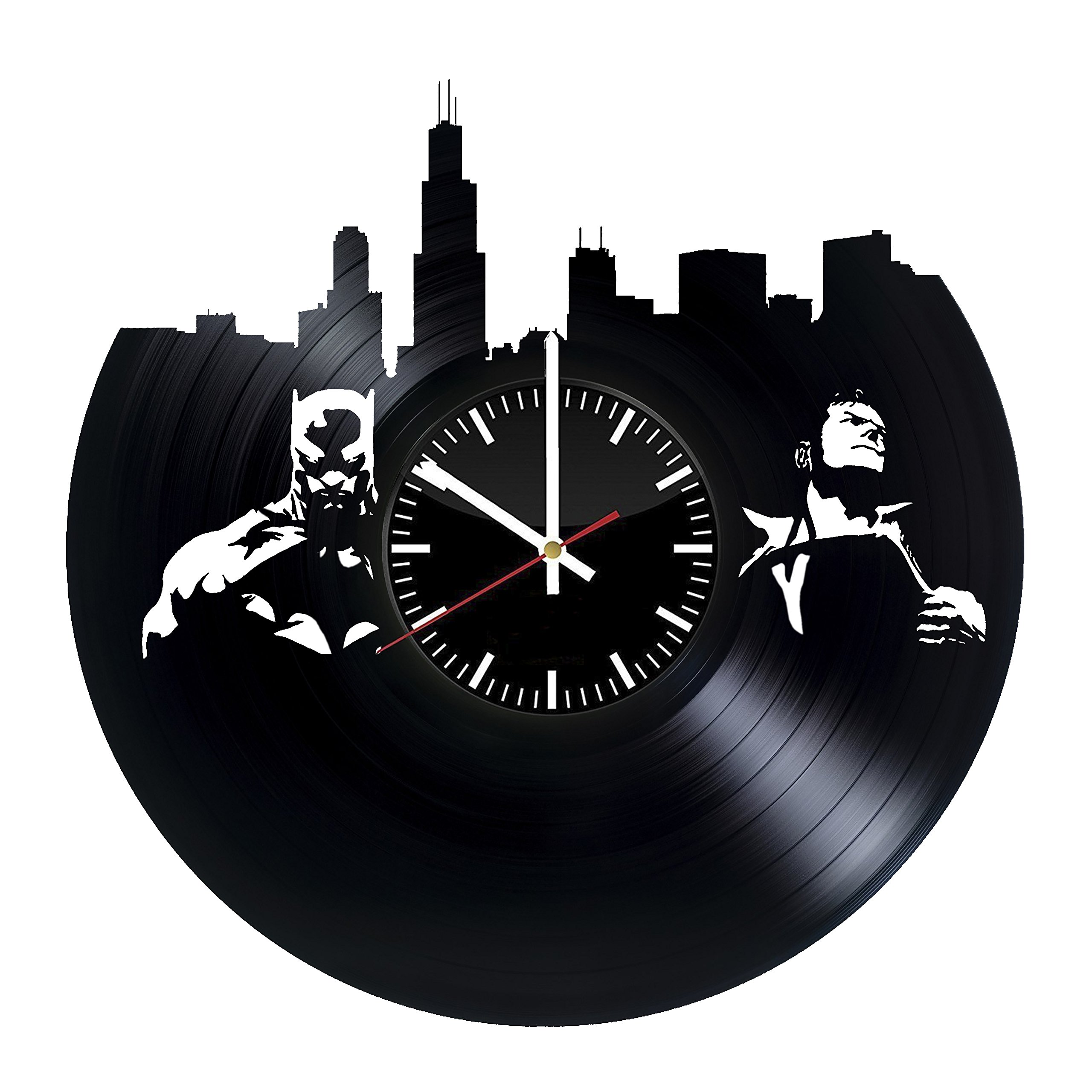 Welcome Everyday Arts Batman vs Superman Design Vinyl Record Wall Clock - Get unique bedroom or garage wall decor - Gift ideas for friends, brother – DC Comics Legends Unique Modern Art