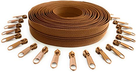 45 Zipper Pulls 10 Yards of Make Your Own Zipper Nuburi Black Zipper by The Yard