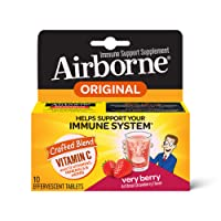 Airborne Very Berry Effervescent Tablets, 10 count - 1000mg of Vitamin C - Immune...