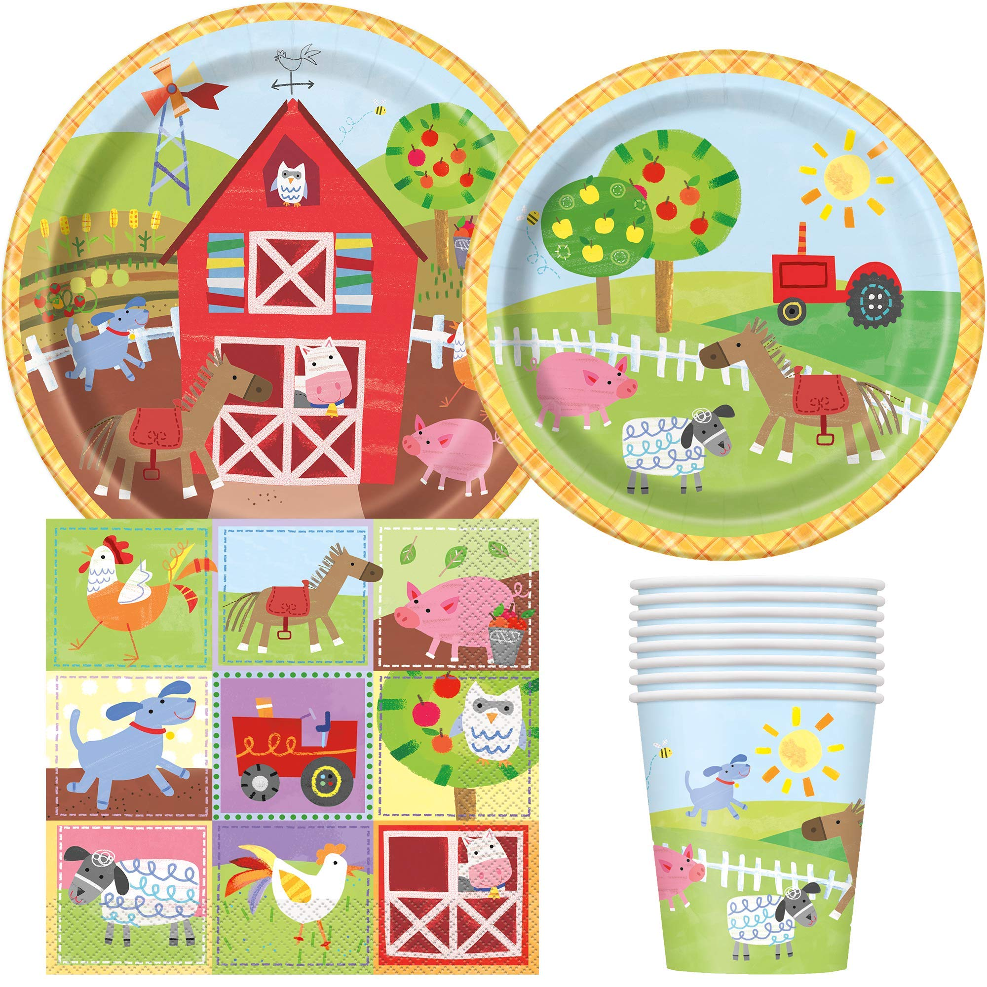 Barnyard Farm Party Birthday Supplies Pack for 8 Guests Including Lunch Plates, Dessert Plates, Lunch Napkins, Cups