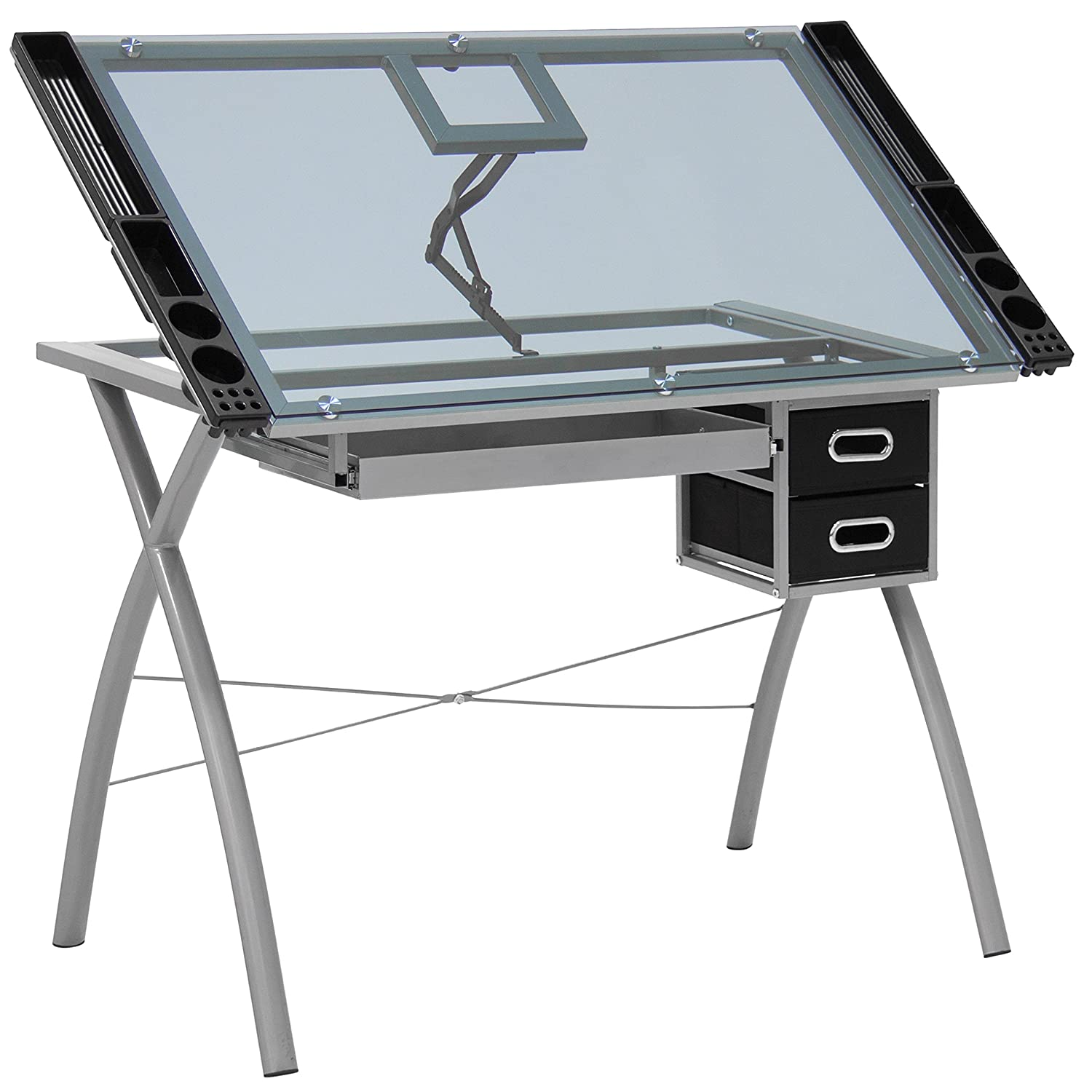 Best Choice Products Office Drawing Desk Station Tempered Glass Adjustable Drafting  Table W/ Drawers