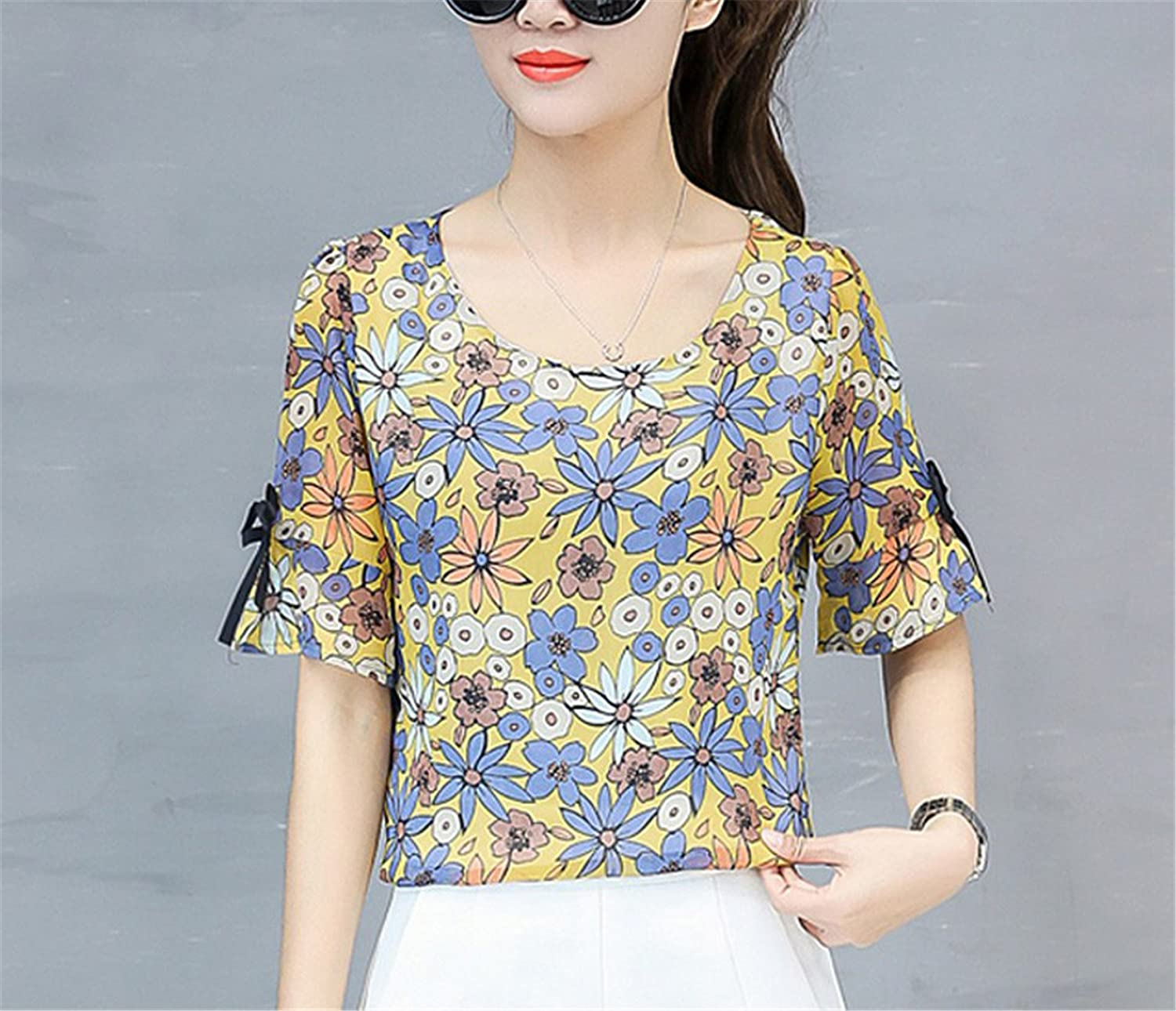 OUXIANGJU New Womens Summer Chiffon Blouse Fashion Short Sleeve O-Neck Floral Print Shirts at Amazon Womens Clothing store: