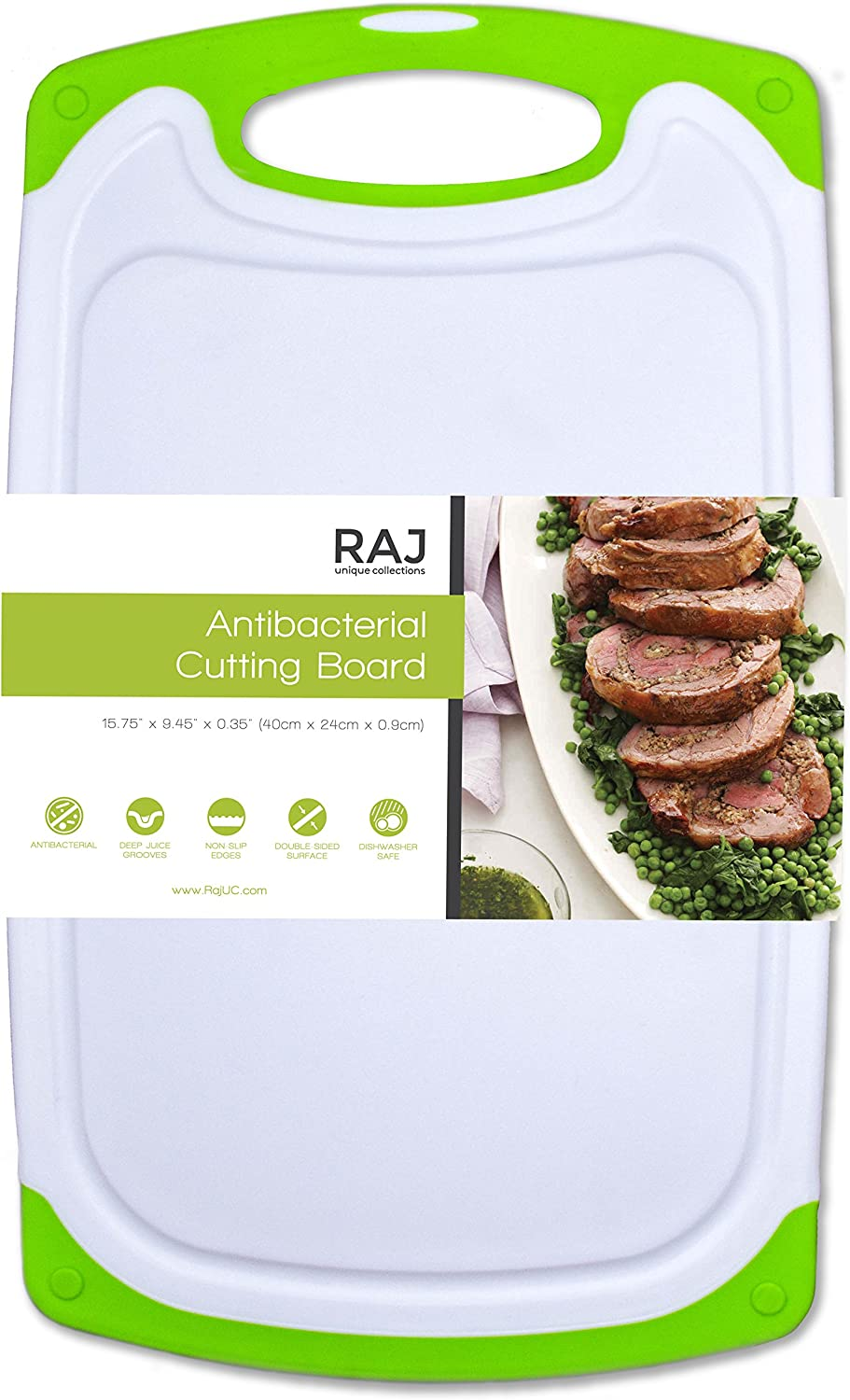 "Raj Plastic Cutting Board Reversible Cutting board, Dishwasher Safe, Chopping Boards, Juice Groove, Large Handle, Non-Slip, BPA Free, FDA Approved (16"", White/Green)"