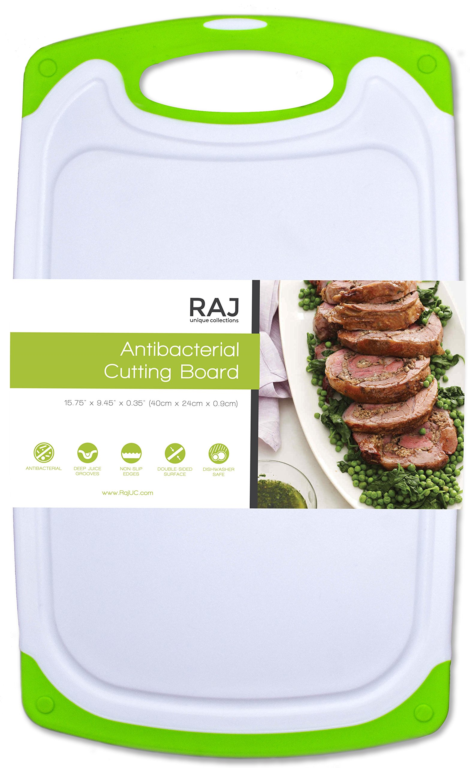Raj Non-Slip Antibacterial Plastic Cutting Board, Deep Juice Groove, Dishwasher Safe, BPA Free, FDA Approved White and green (1 Piece Large, White board with Green Ends)