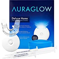 AuraGlow Teeth Whitening Kit LED Light (2) 5ml Gel Syringes