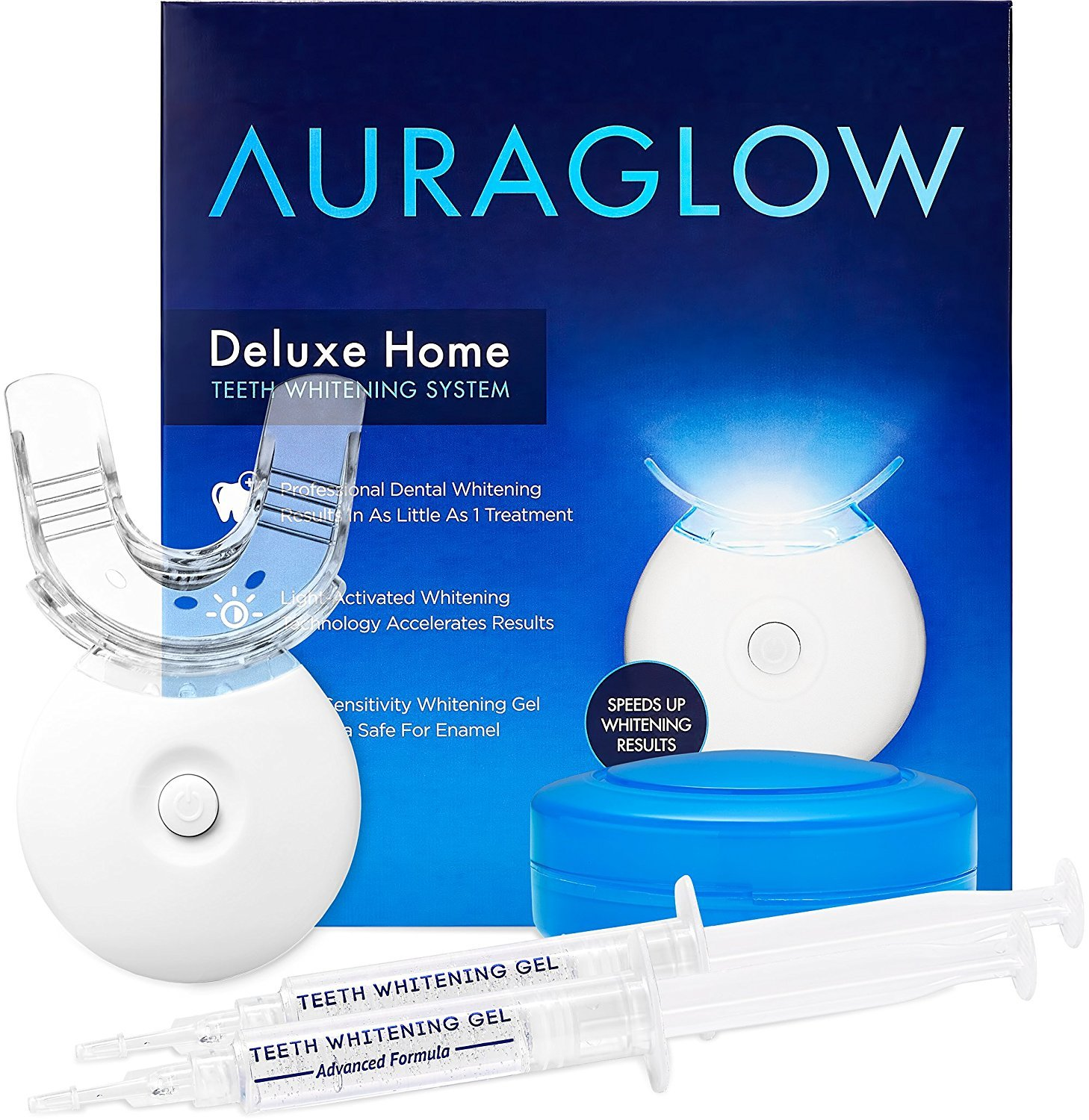 AuraGlow Teeth Whitening LED Light Kit, 35% Carbamide Peroxide, (2) 5ml Gel Syringes, Mouth Tray and Case