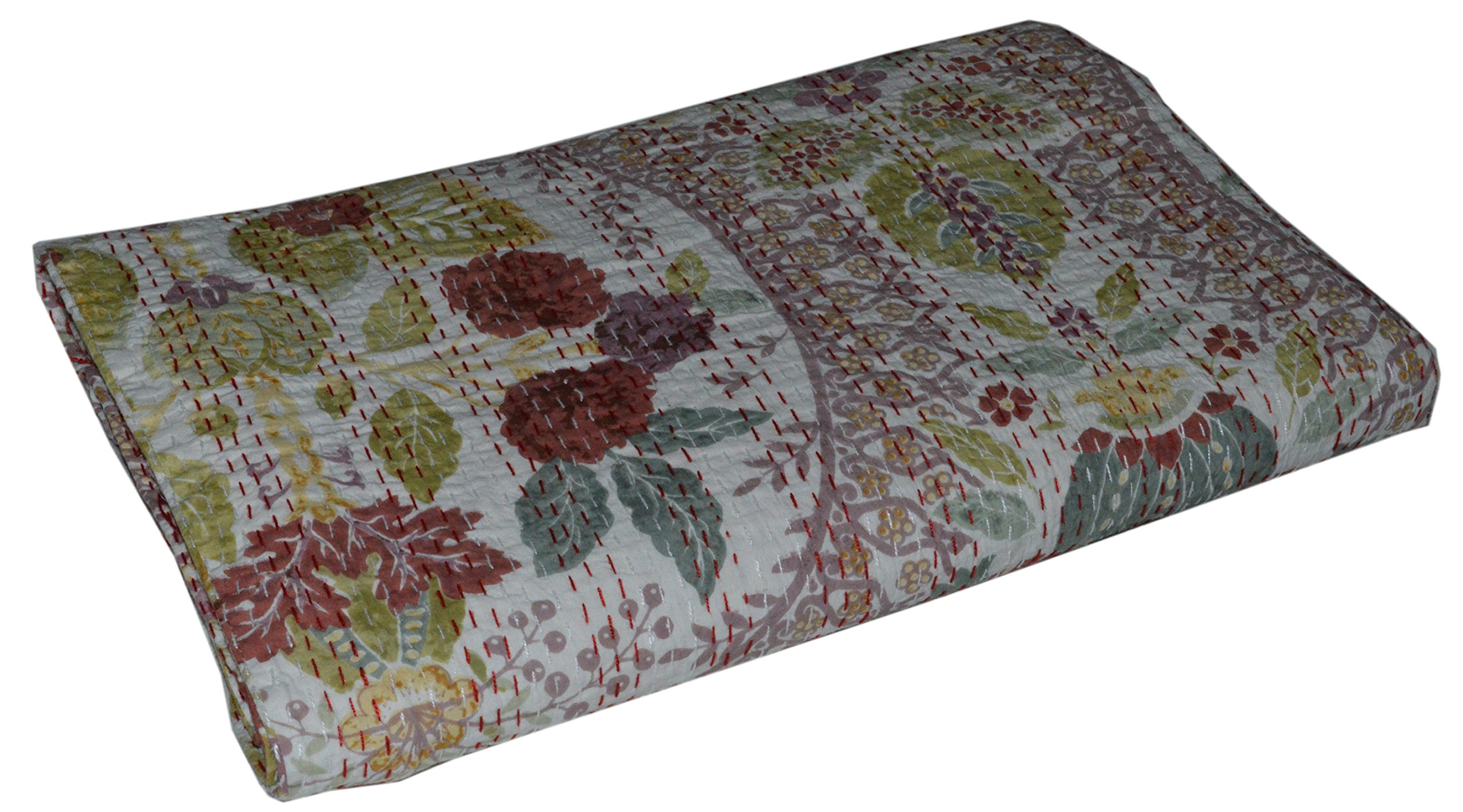 "Hand Made Cotton Indian Kantha Quilted Kantha Quilt Bed Spread Blanket Throw Indian Queen Size Badspread Size 88"" X 106"""
