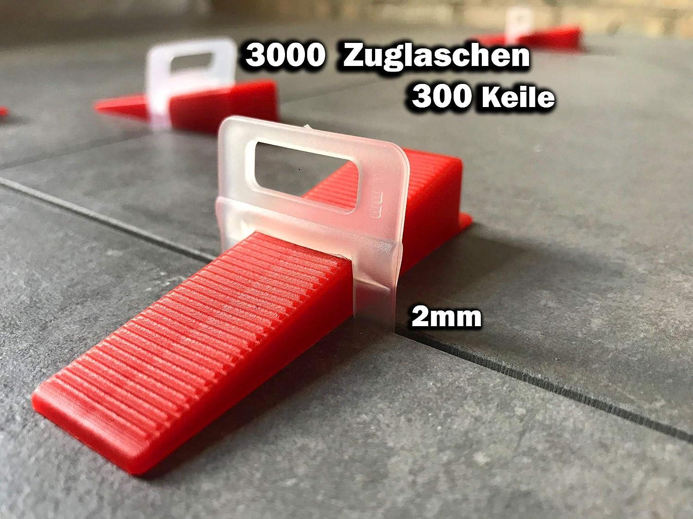 2000 Laschen, 2,0mm Das G/ÜNSTIGE Fliesen Nivelliersystem Zange Keile Zuglaschen einzeln oder im Set 1,5mm und 2mm St/ückzahl frei w/ählbar Mega-Auswahl an Variationen Laschen Verlegehilfe