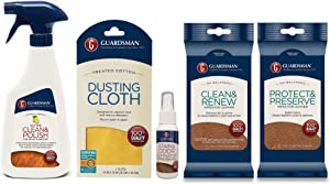 Guardsman Furniture Care Starter Kit - For Fabric, Wood & Leather - Includes Wood Clean & Polish, Stain & Odor Eliminator, Dusting Cloth, Leather Clean & Renew, and Protect & Preserve Wipes