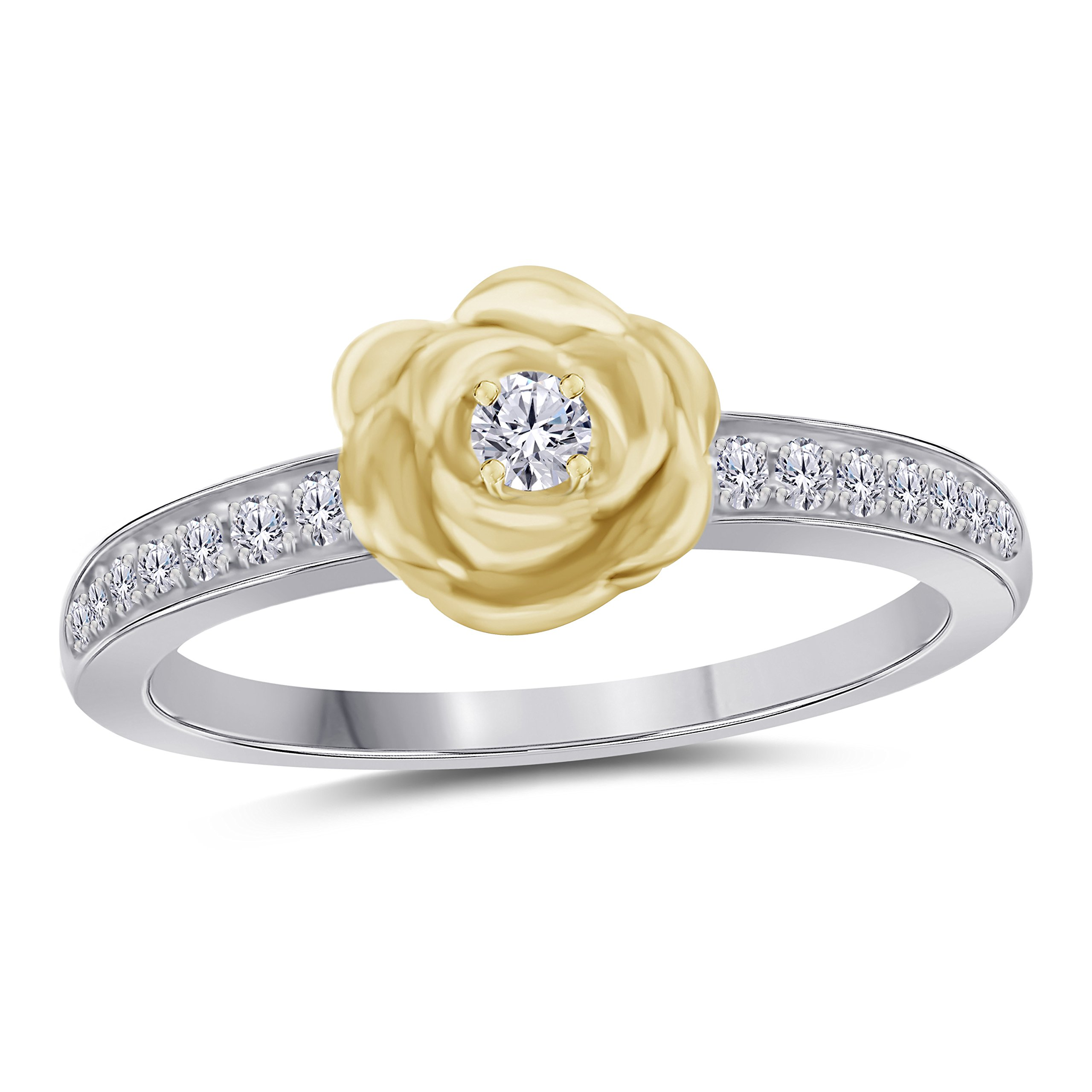 Silver Gems Factory 14K Two-Tone Gold Over Round Cut White Cubic Zirconia Yellow Rose Lotus Flower Ring Bridal Jewelry