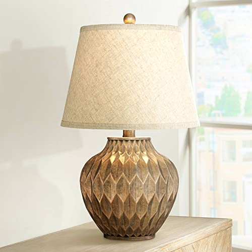Buckhead Modern Accent Table Lamp Warm Bronze Geometric Urn Tapered Drum Shade for Living Room Family Bedroom Bedside Office – 360 Lighting