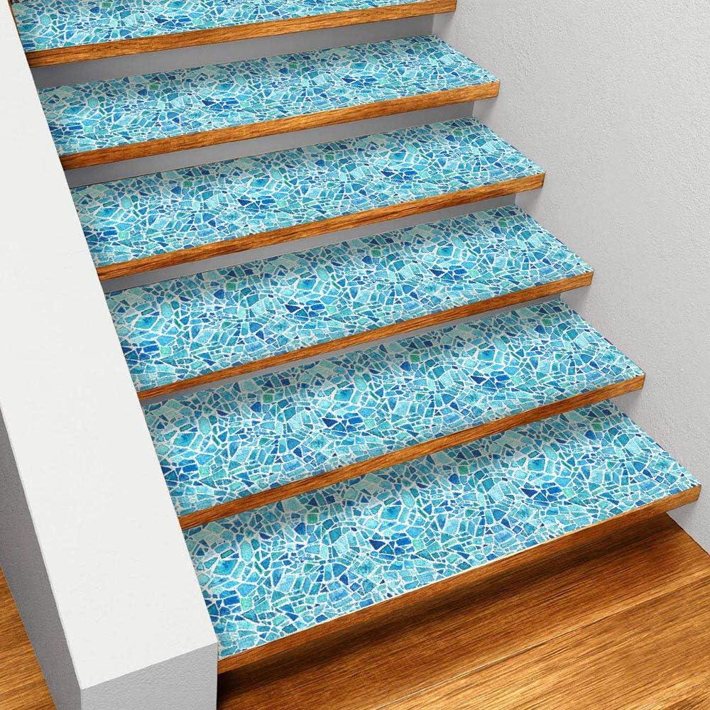 EXTSUD Sticker Carrelage Sticker d/'Escalier Autocollant Mural 100x25cm Antid/érapant PVC Imperm/éable D/écoration Pour Escaliers Chambre Salle De Bains Style Mosa/ïque Aquarelle