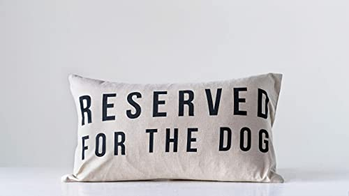 Creative Co-op Reserved for The Dog Cotton Pillow, White
