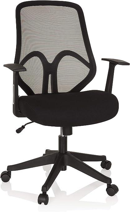 hjh OFFICE 750000 Chaise de Bureau, siège pivotant AMIKO Noir avec accoudoirs