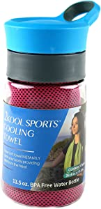 2Kool Sports Cooling Towel with 13.5 oz. BPA Free Tritan Water Bottle for Sports, Workout, Yoga, Fitness, Gym, Pilates, Travel, Camping & More (Hot Pink)