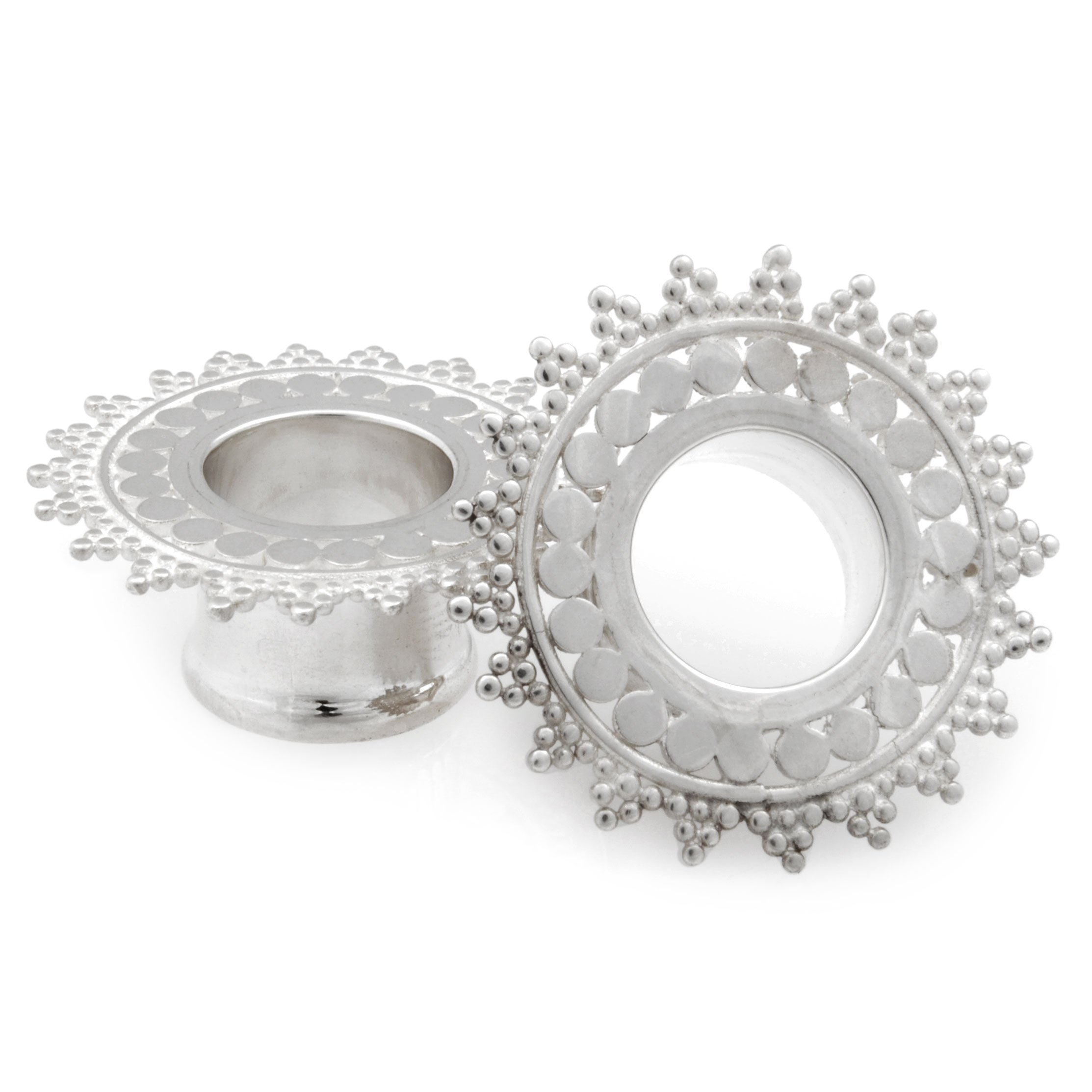 Pair of Silver Double Flared Afghan Eyelets: 1/2'' by Steel Navel Body Jewelry