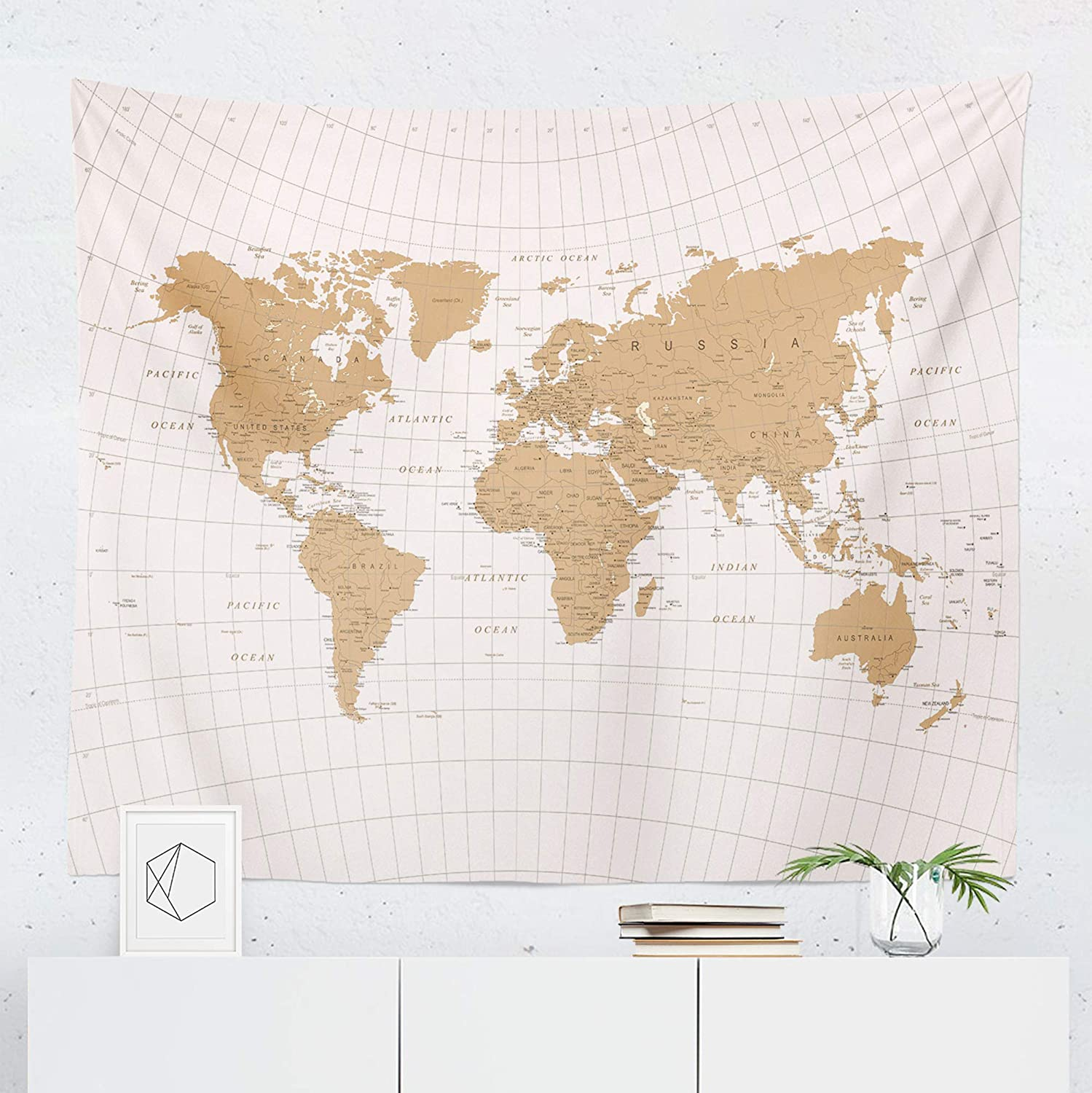 World Map Wall Tapestry Amazon.com: Gold White World Map Tapestry Wall Hanging Maps Global