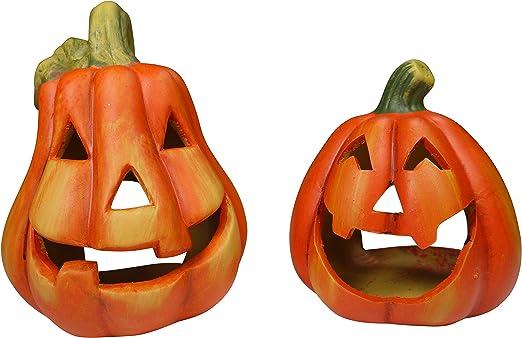 Amazon De Khevga Kurbis Deko Keramik Windlicht Herbst Im 2er Set Halloween Dekoration