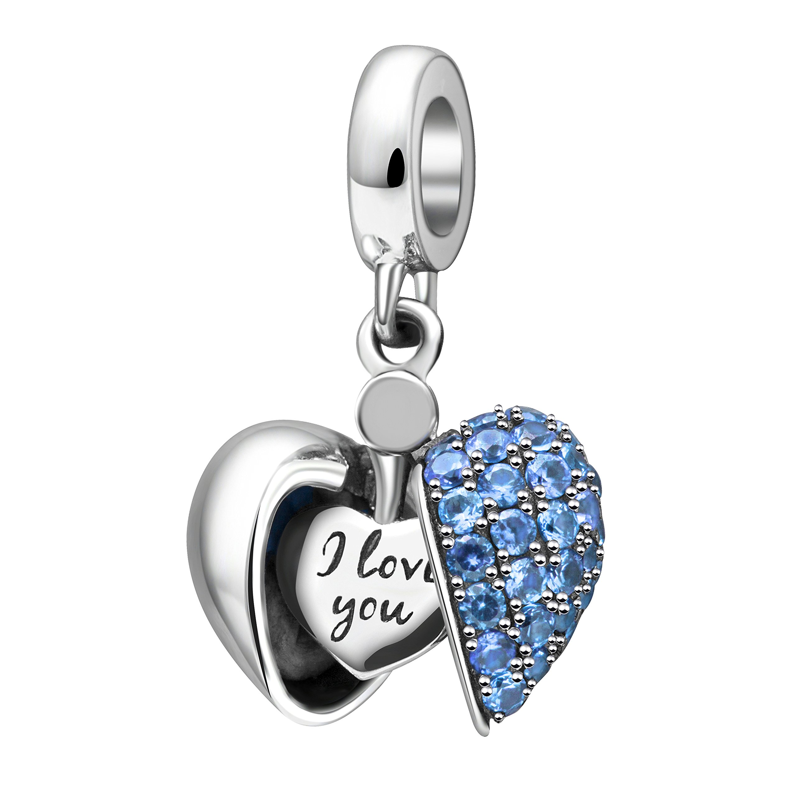 I Love You Charm 925 Sterling Silver Love Heart Dangle Bead Charms for European Charms Bracelet Necklace (Blue)