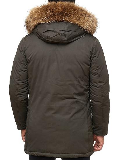 Husaria warme Winter Herren Jacke mit Fell und Kapuze AK923 Kapuzenjacke (XXL, Khaki)