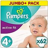 Pampers Premium Protection Active Fit Windeln, Gr. 4+ Maxi Plus (9-18 kg), Jumbo Plus Pack, 1er Pack (1 x 62 Stück)
