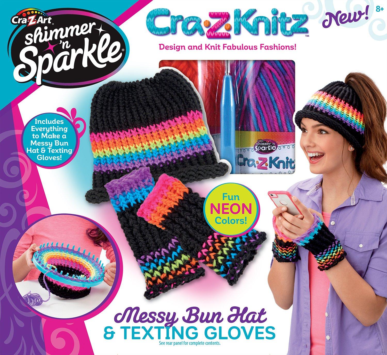 Cra-Z-Art CRA-Z-Knitz Messy Bun Hat & Texting Gloves Knitz Hat & Gloves Cra Z Art 17809