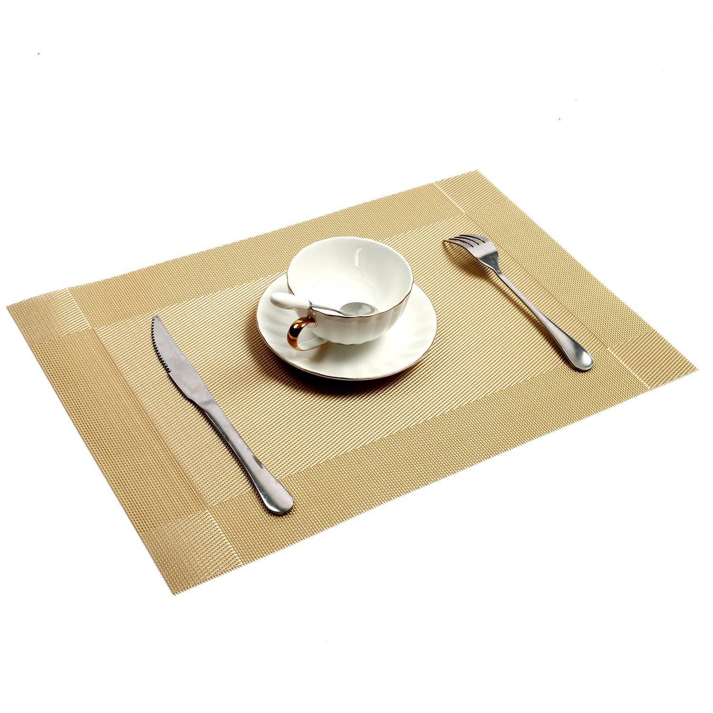antid/érapant lavable ronde en PVC Sets de table Set de table en vinyle tiss/é 30,5/x 45,7/cm AAndrea Sets de table Lot de 8 Sets de r/ésistant /à la chaleur